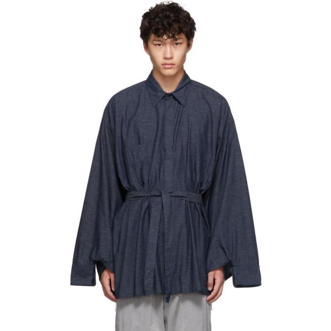 Fumito Ganryu Chemise bleu marine Kimono Dungaree