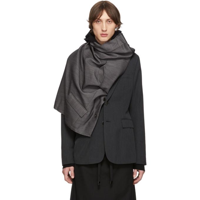 Fumito Ganryu Grey Wool Draped Blazer
