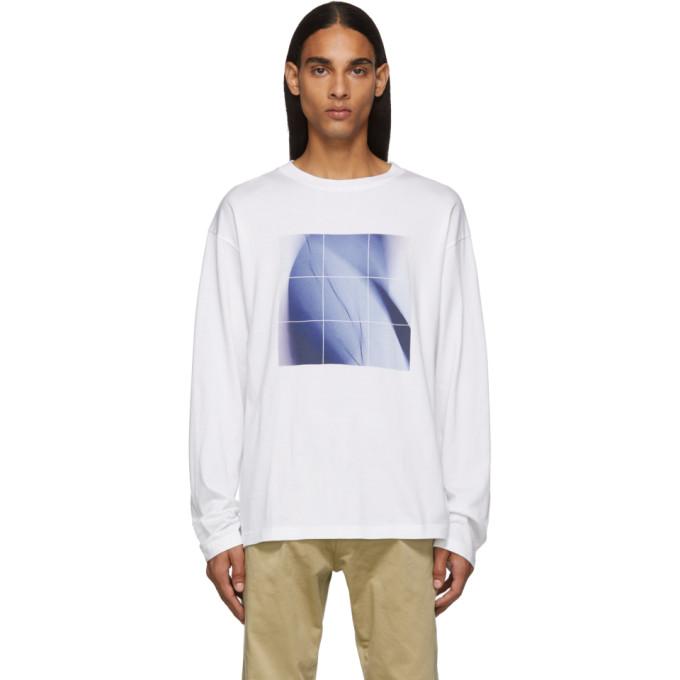 Fumito Ganryu T-shirt graphique a manches longues blanc et bleu