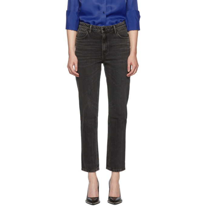 Alexander Wang Jeans ALEXANDER WANG BLACK CULT CROPPED STRAIGHT JEANS