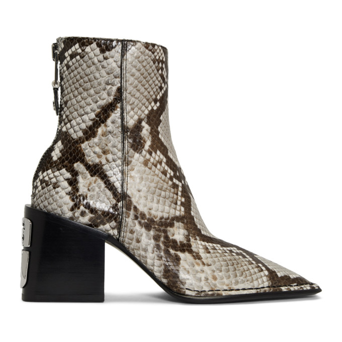 Alexander Wang Black and White Snake Parker Boots