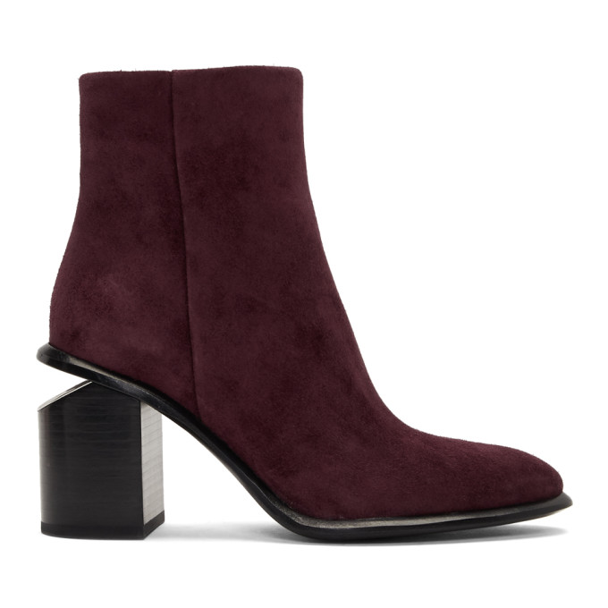 Alexander Wang Burgundy Suede Anna Mid Boots