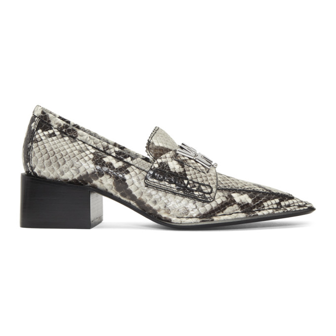 Alexander Wang Black and White Snake Print Parker Low Loafers