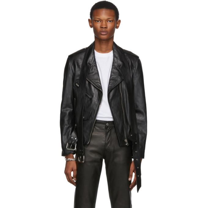 Alexander Wang Black Leather Martingale Moto Jacket