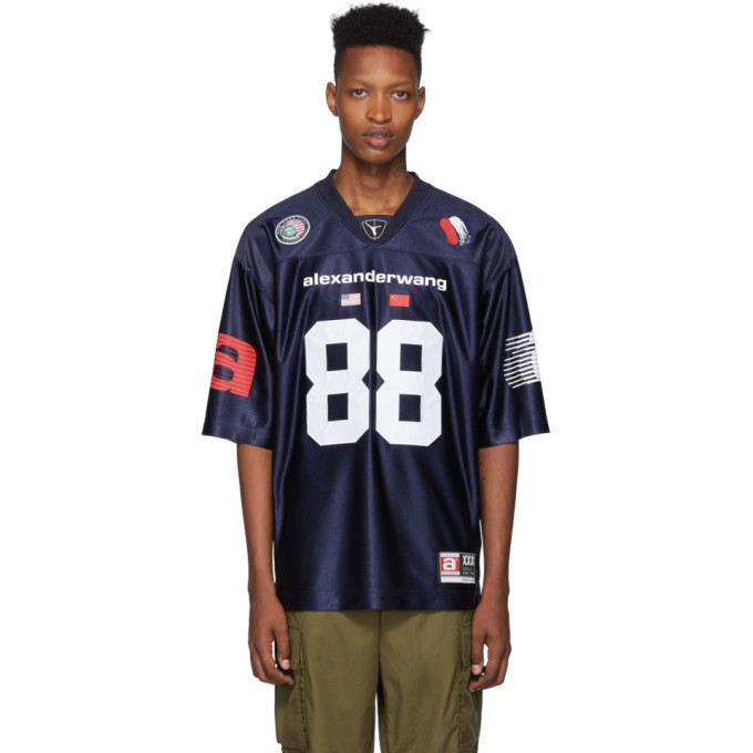Alexander Wang T-shirt bleu marine High Shine Football Jersey