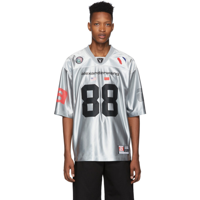 Alexander Wang T-shirt argente High Shine Football Jersey