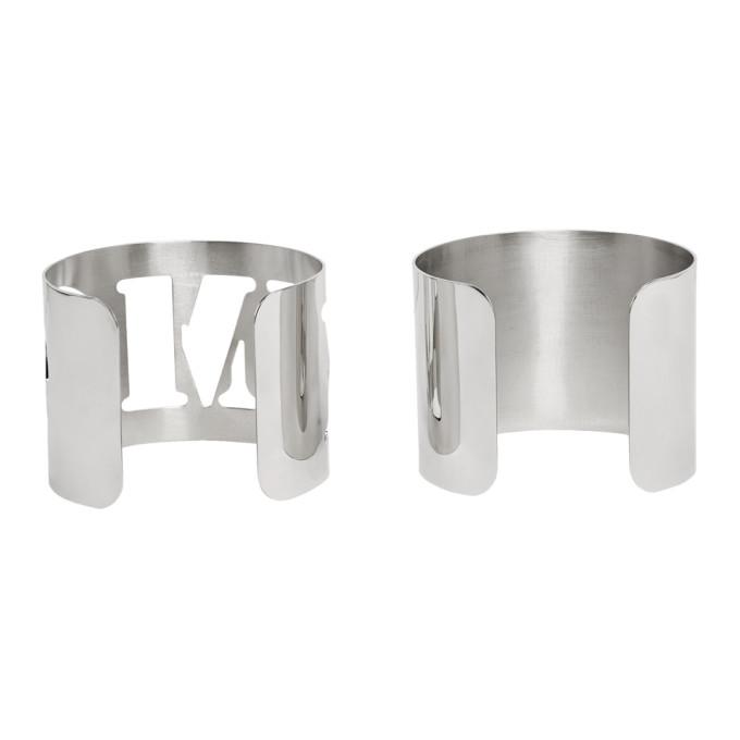 MM6 | MM6 Maison Margiela Silver Logo Bracelet Set | Goxip