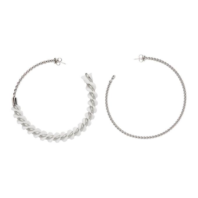 MM6 | MM6 Maison Margiela Silver Spiral Hoops | Goxip