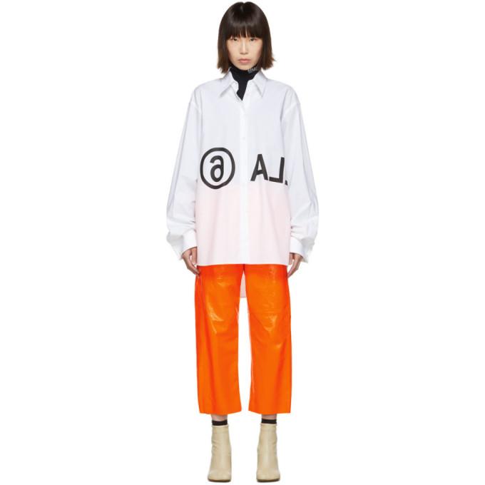 MM6 Maison Margiela Chemise surdimensionnee blanche Reversed Logo