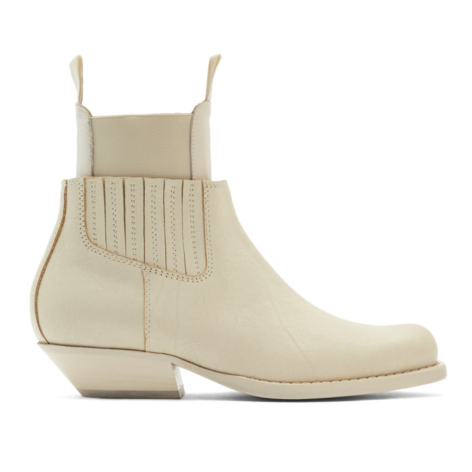 MM6 Maison Margiela Off-White Cut-Out Double Chelsea Boots