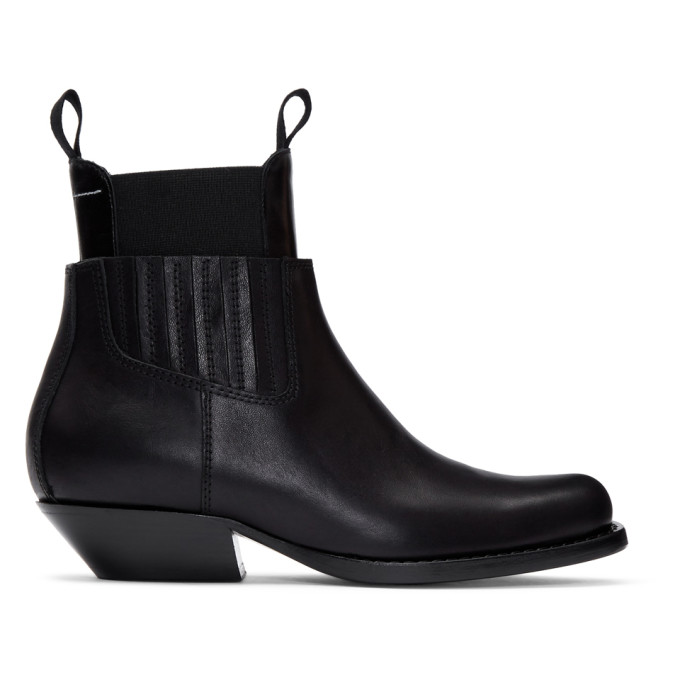 MM6 Maison Margiela Black Cut-Out Double Chelsea Boots