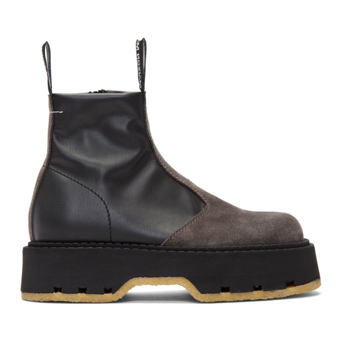 MM6 Maison Margiela Black Pull On Ankle Boots