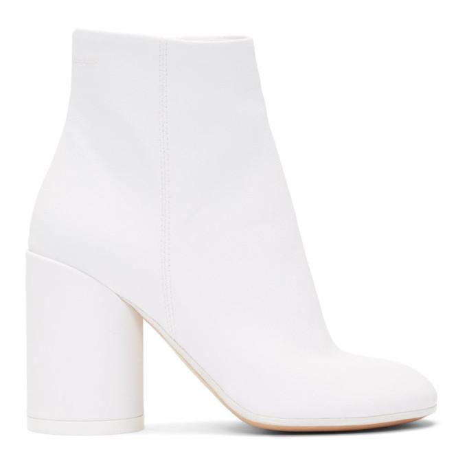 MM6 Maison Margiela White Coated Textile Ankle Boots