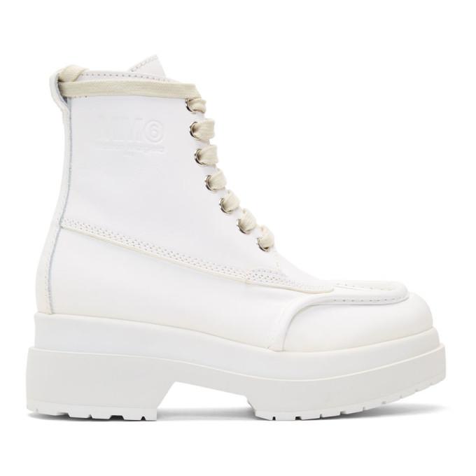 MM6 Maison Margiela White Mid-Calf Combat Boots