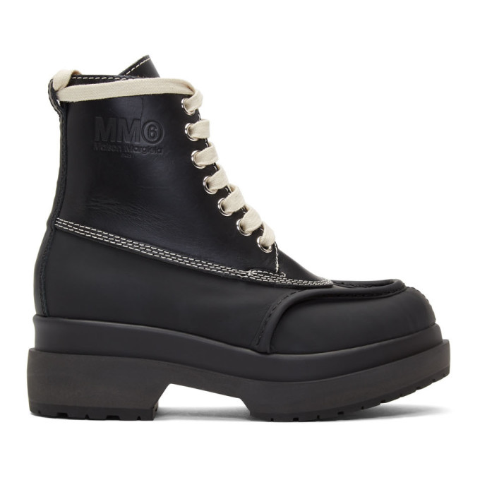 MM6 Maison Margiela Black Mid-Calf Combat Boots