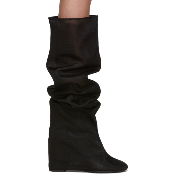 MM6 Maison Margiela Black Mesh Tall Boots