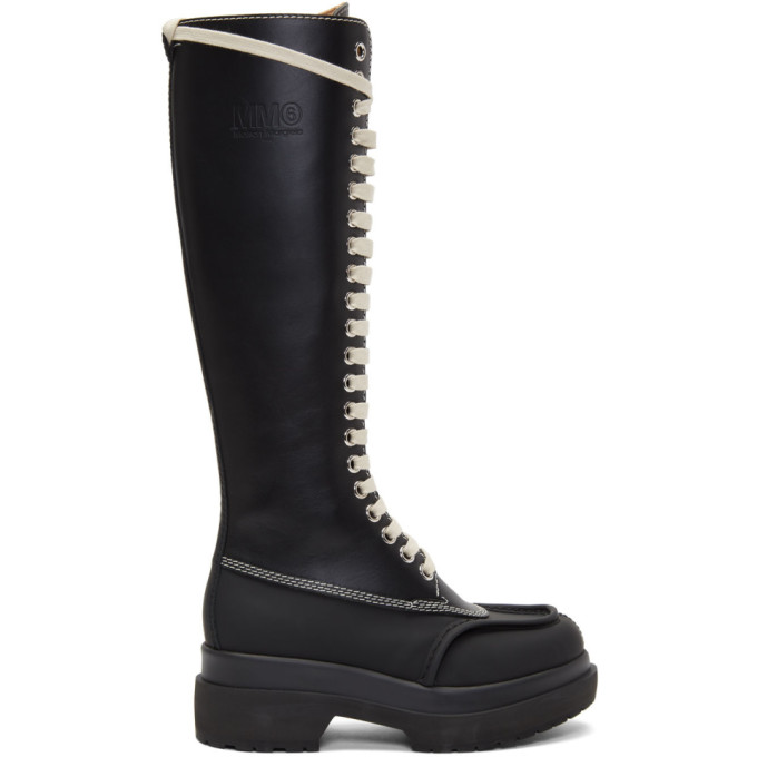 MM6 Maison Margiela Black Tall Combat Boots