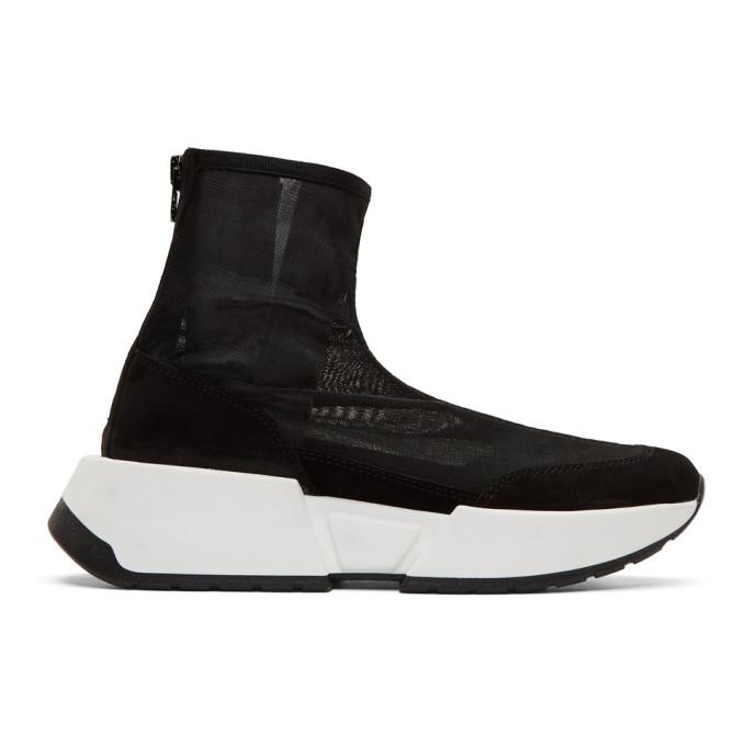 MM6 Maison Margiela Black Mesh Sock Runner Sneakers