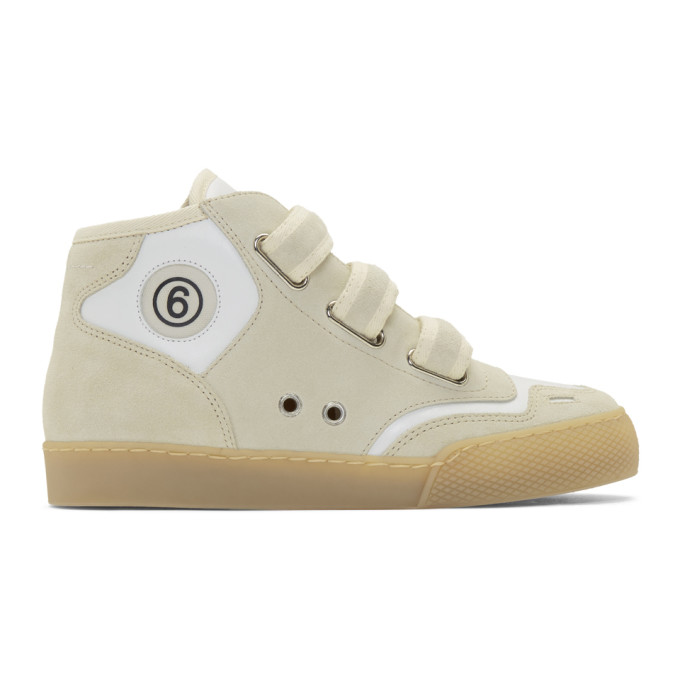 MM6 Maison Margiela Taupe and White 3-Strap Sneakers