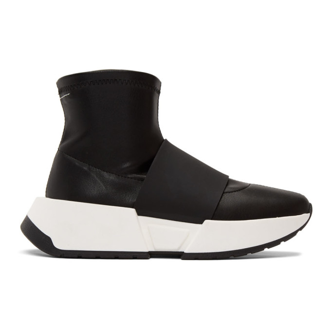 MM6 Maison Margiela Black Leather Second Skin High-Top Sneakers