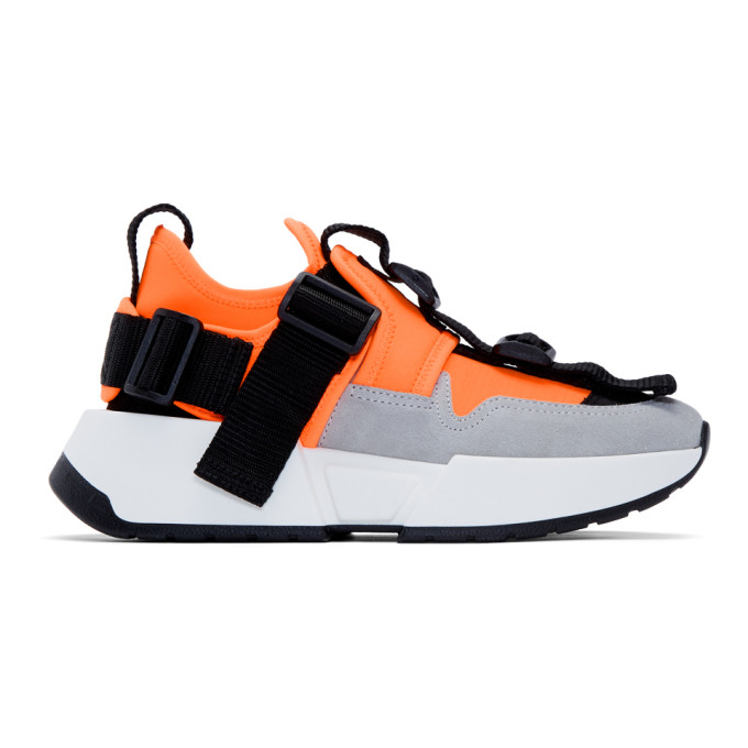 MM6 Maison Margiela Orange and Grey Safety Strap Sneakers