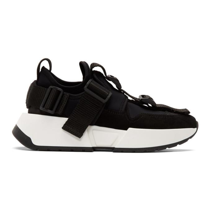 MM6 Maison Margiela Black Safety Strap Platform Sneakers