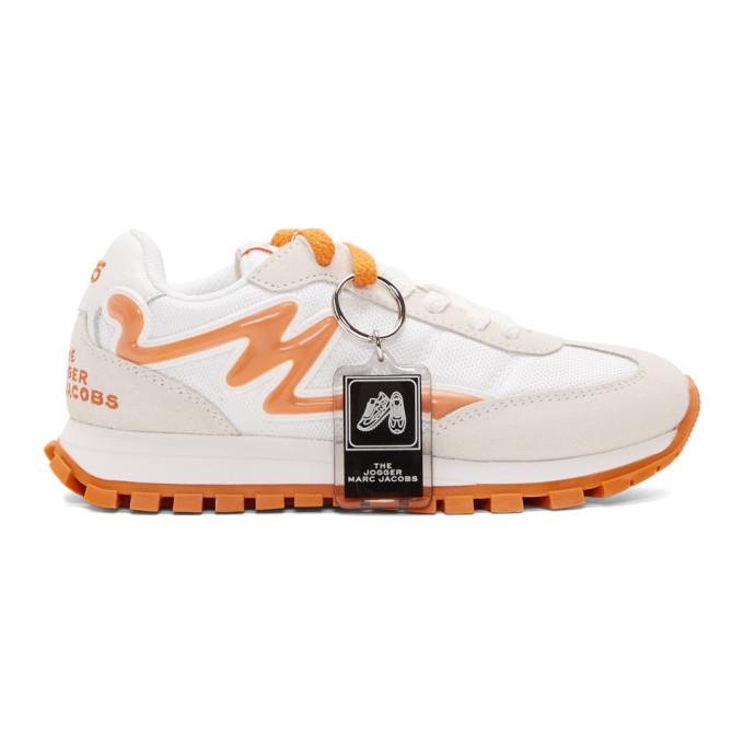 Marc Jacobs Baskets blanches et orange The Jogger