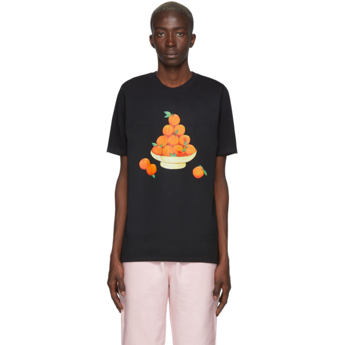 Casablanca T-shirts CASABLANCA SSENSE EXCLUSIVE BLACK PYRAMID OF ORANGES T-SHIRT