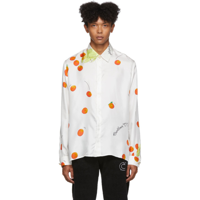 Casablanca Chemise a manches longues en soie blanche Encore Les Oranges exclusive a SSENSE