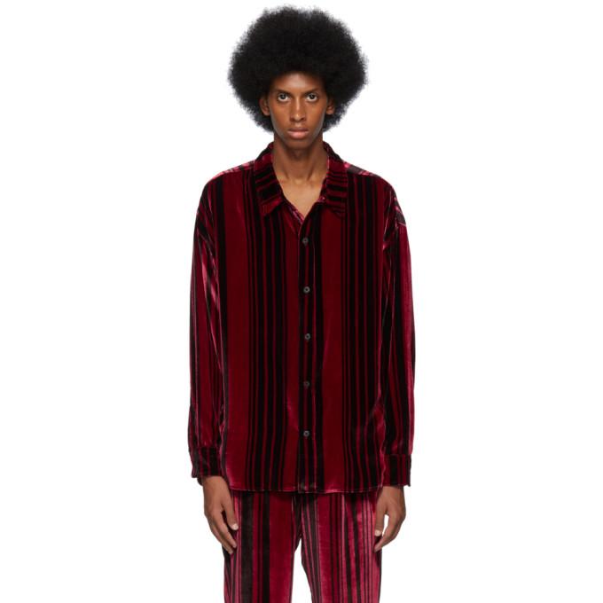 Nahmias Chemise en velours de soie rouge