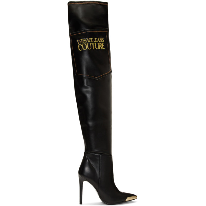 Versace Jeans Couture Black Tall Heeled Boots