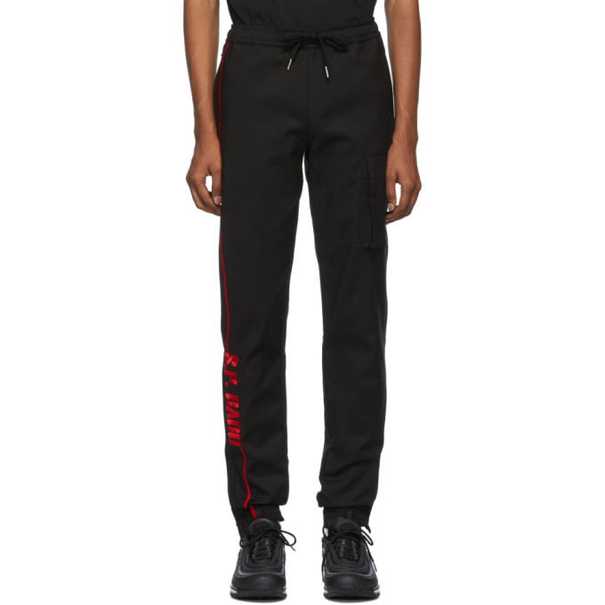 Spencer Badu Pantalon de survetement a logo noir et rouge Jogger