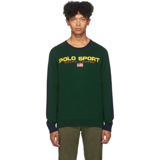 Polo Ralph Lauren Green and Navy Polo Sport Crewneck Sweater