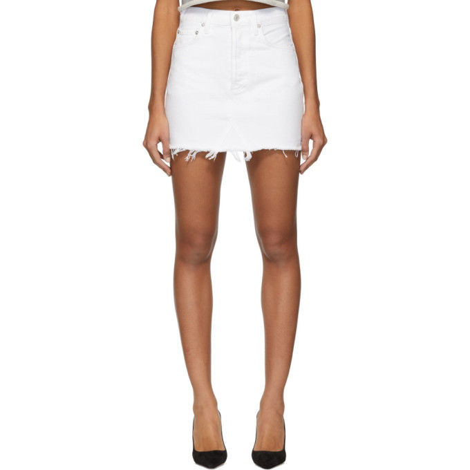 Agolde Mini-jupe en denim blanche Quinn Hi Rise