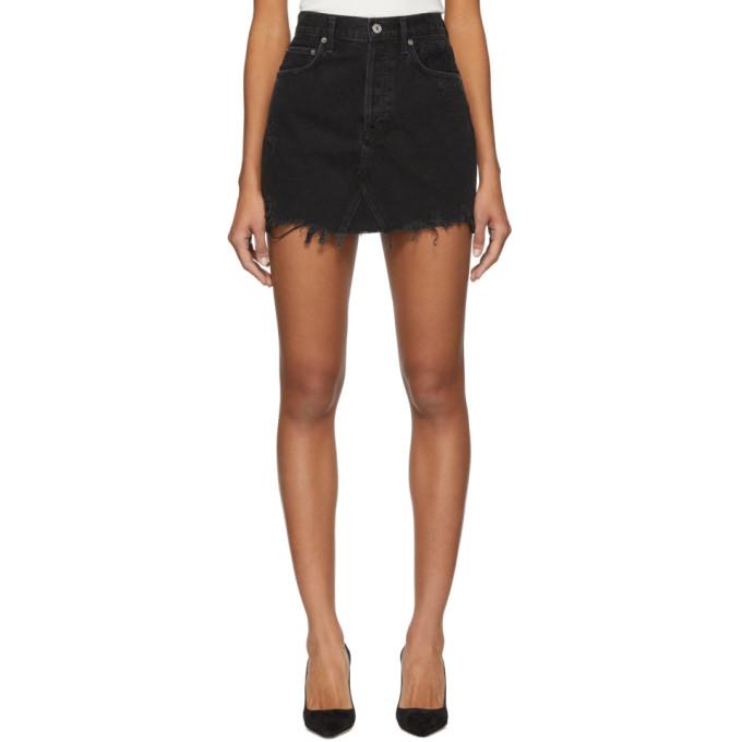 AGOLDE Mini-jupe en denim noire Quinn Hi Rise