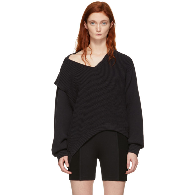 T BY ALEXANDER WANG | Alexanderwang.T Black Utility V-Neck Sweater | Goxip