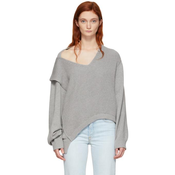 T BY ALEXANDER WANG | Alexanderwang.T Grey Utility V-Neck Sweater | Goxip