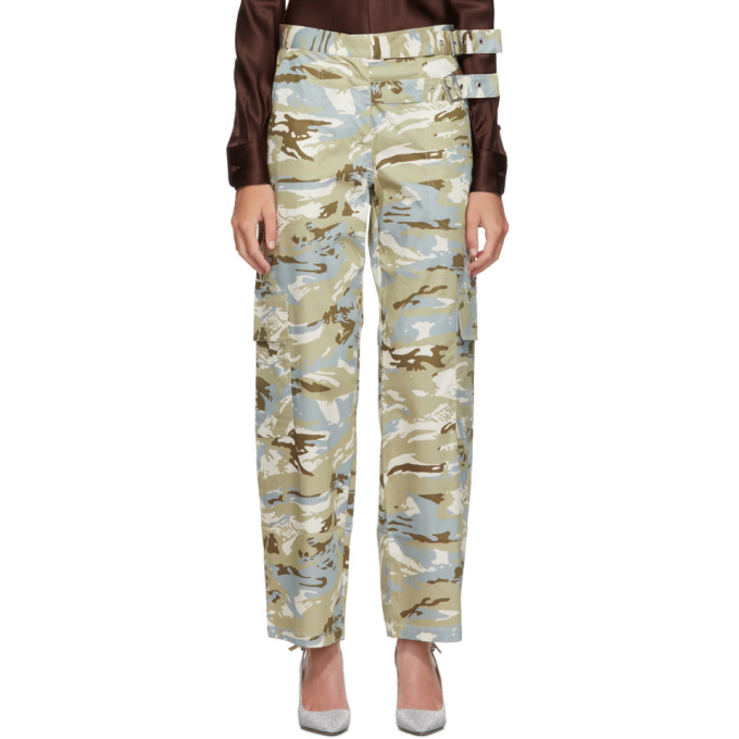Miaou Pantalon a motif camouflage gris et bleu Daisy