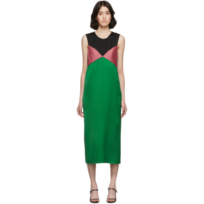 Marina Moscone Robe en satin verte et noire Heavy
