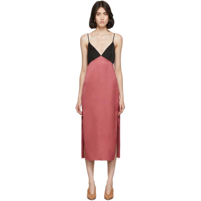 Marina Moscone Fond de robe en satin rose et noir Heavy