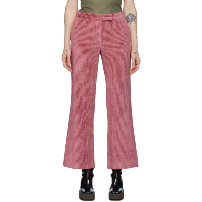 Marina Moscone Pantalon en velours cotele rose