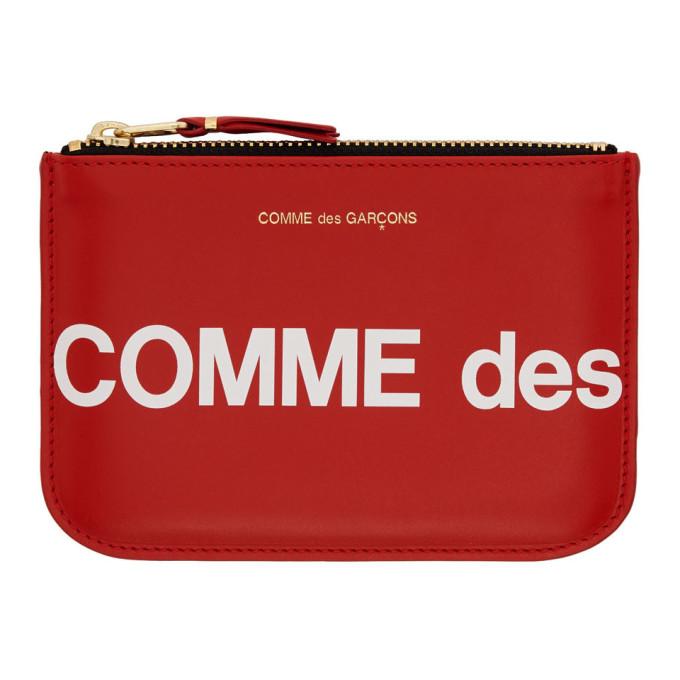 Comme Des Garçons Wallets COMME DES GARCONS WALLETS RED HUGE LOGO POUCH