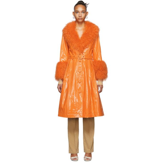 Saks Potts Manteau en peau retournee orange Foxy Gloss