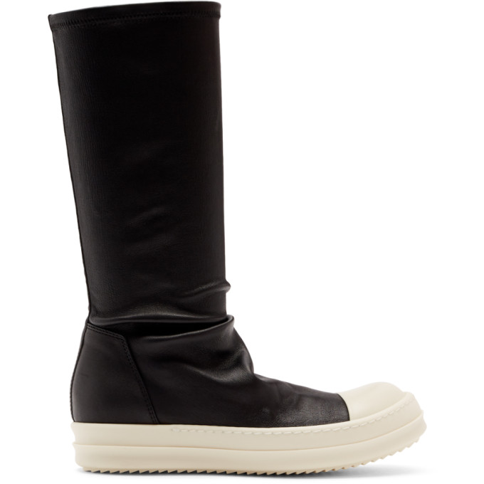 Rick Owens Black and Off-White Sock Boots