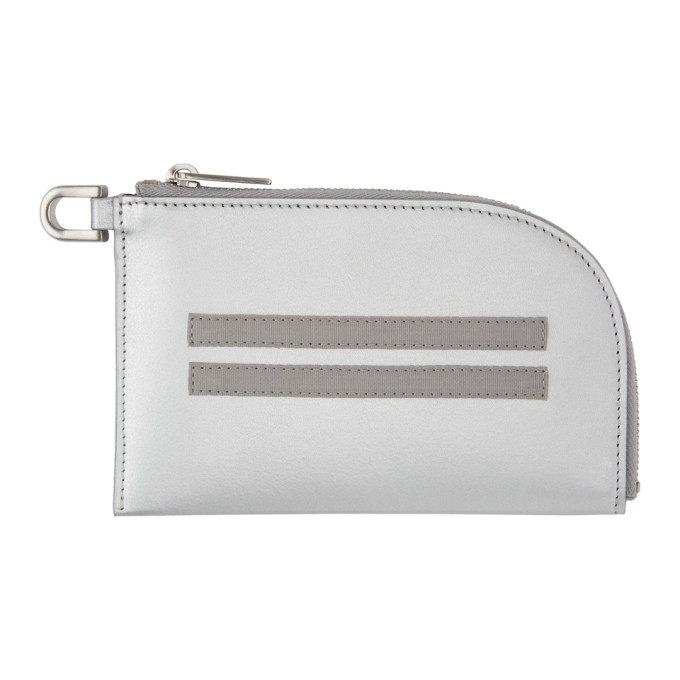Rick Owens Silver Zip Pouch Wallet