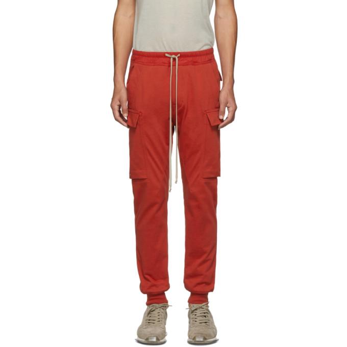 Rick Owens Pantalon cargo rouge Jogger