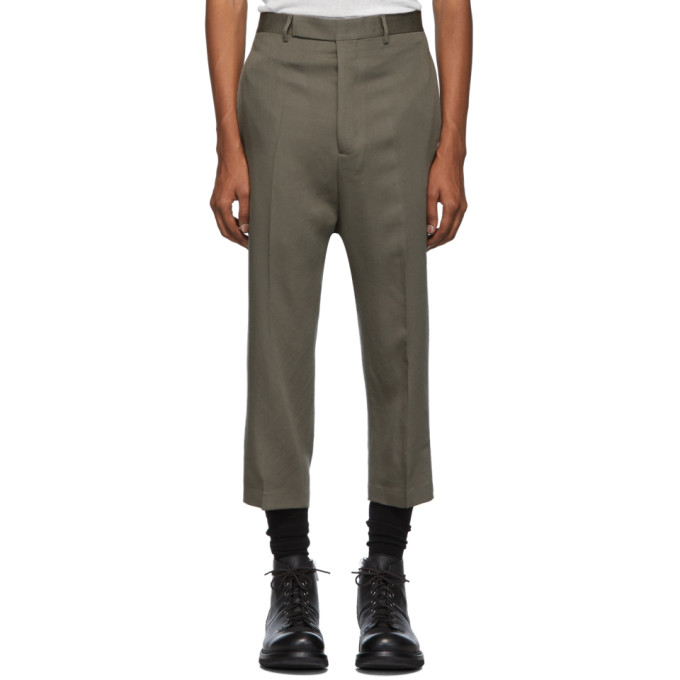 Rick Owens Taupe Cropped Astaires Trousers