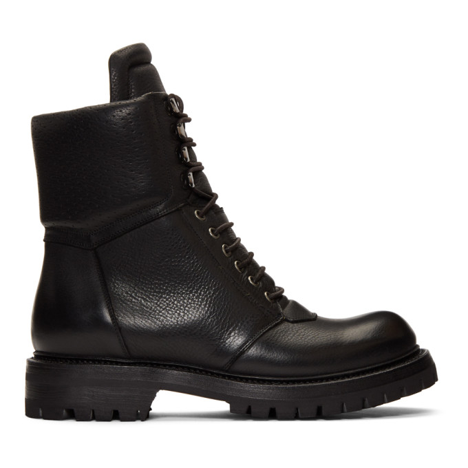 Rick Owens Black Army Hiking Boots