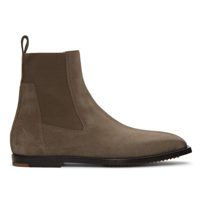 Rick Owens Brown Flat Square Toe Elastic Boots