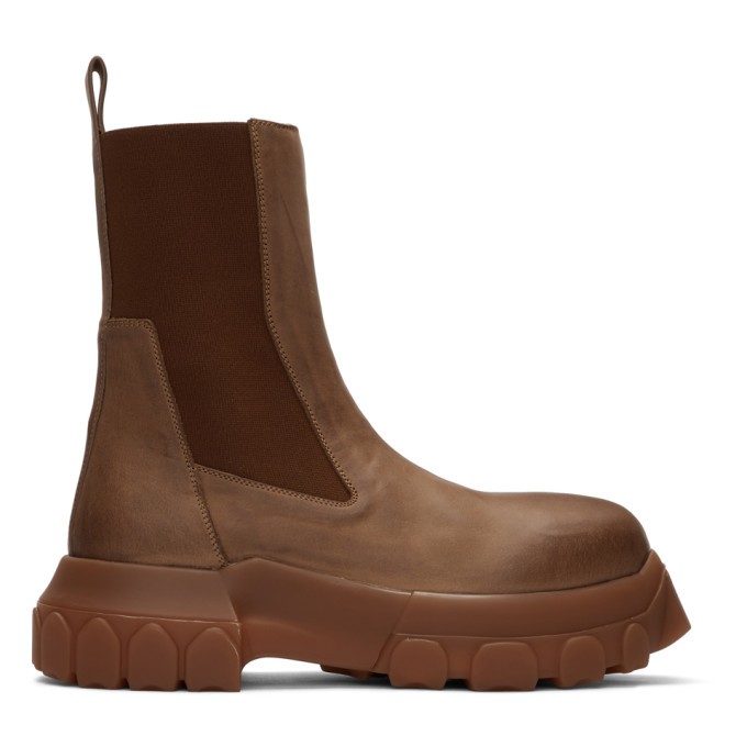 Rick Owens Brown Bozo Tractor Beatles Chelsea Boots